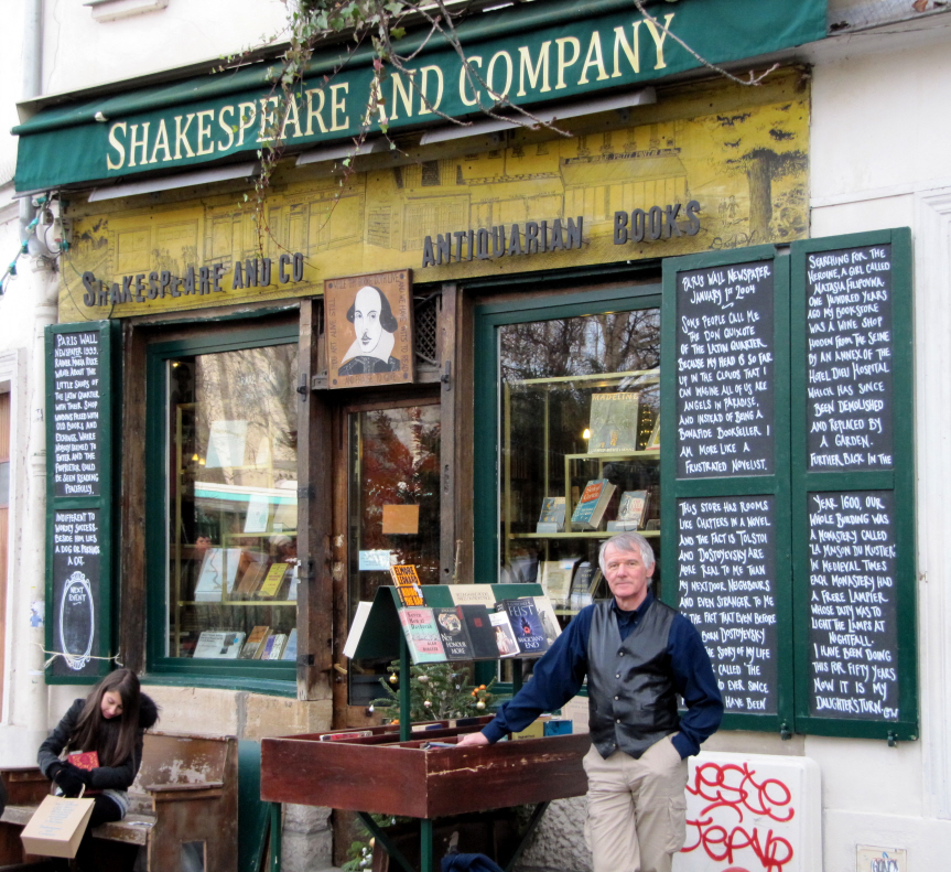 Outside Shakespeare & Company in Paris